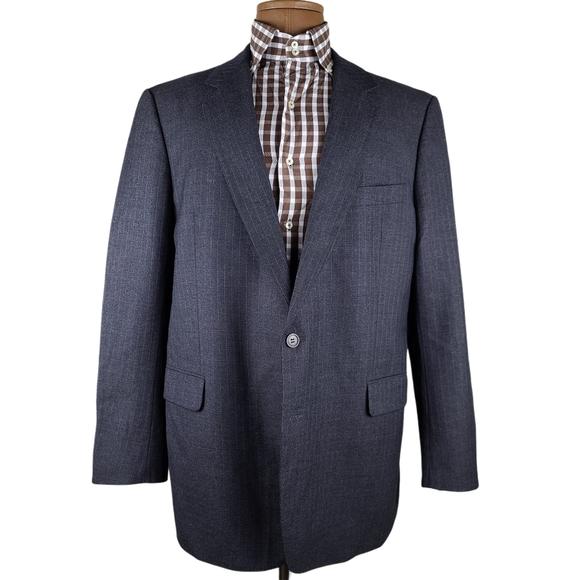 Burberry Striped Two Button Wool Blazer